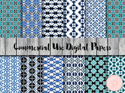 dp49-Folk Style Digital Paper, Bohemian Digital Paper, Teal Blue Tribal Digital Paper