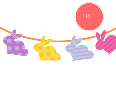 free printable easter bunny garlands and cupcake toppers