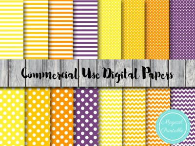 halloween theme digital papers, yellow, orange, purple digital papers