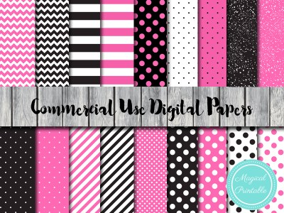 hot pink and black stripes digital paper