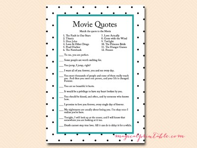 FREE movie quote game teal bridal shower