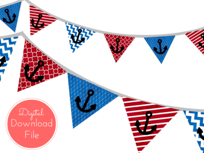 pennant-Blue-Red-Watercolor-Nautical-Baby-Shower-Banner-Ahoy-Pennant-Garland-Printable-Banner-Birthday-Party-Bridal-Shower-Wedding-banner