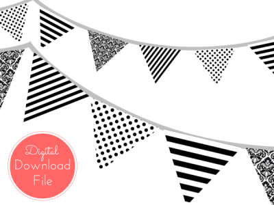 pennant-Modern-Black-and-White-Banner-Black-White-Polka-Dots-Black-White-Stripes-Garland-Baby-Shower-Banner-Bridal-Shower-Wedding-banner