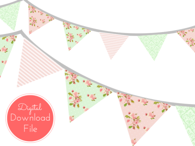 pennant-Pink-Mint-Shabby-Chic-Banner-Bunting-Pennant-Garland-Printable-Banner-Baby-Shower-Banner-Birthday-Party-Bridal-Shower-Wedding-banner
