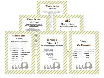 elephants baby shower games