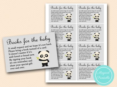 panda baby shower, books for the baby