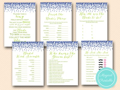 royal blue and lime green bridal shower game pack instant download bs154
