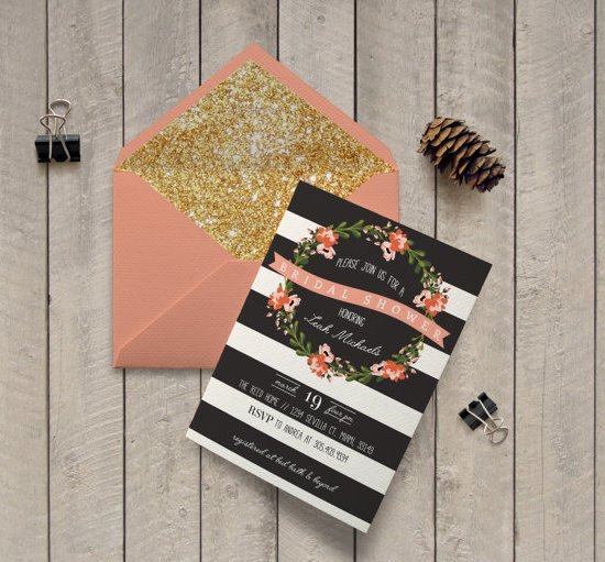 Black And White Striped Floral Bridal Shower Printable Invitation Modern Floral Pink And Black Invite - Romantic Floral Wreath