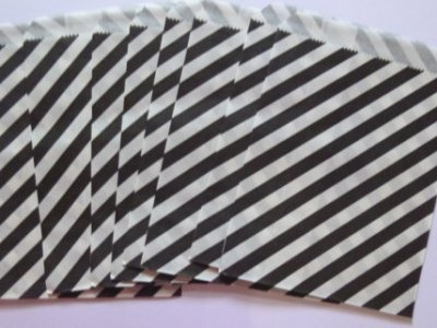 Black and White Striped Paper Treat Baggy