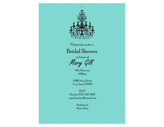 Chandelier bridal shower Invitation, Baby Shower Invitation, wedding Invitation, birthday, Tiffanys, breakfast
