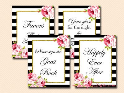 black stripes floral wedding, bridal shower signs, baby shower signs, favors, welcome, cards, sn26