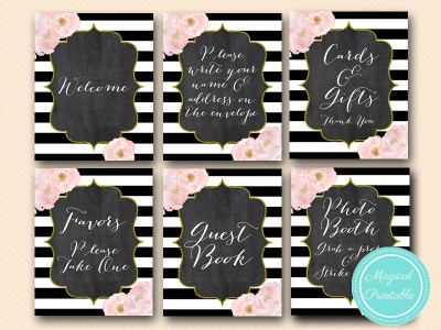 floral gold glitter chalboard wedding signs, bridal shower chic signages sn37