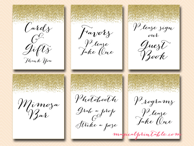 baby gold glitter wedding signages printable wedding signs instant download bridal shower signs