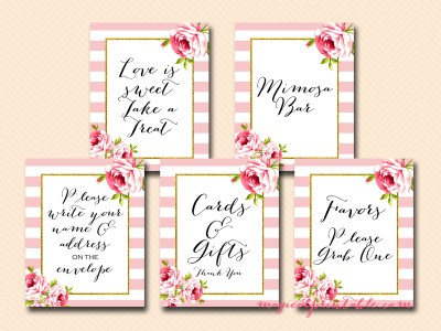 pink and white stripes wedding signs, bridal shower signs, baby shower signs, instant download sn27