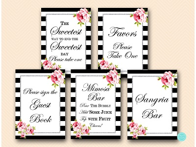 silver glitter black stripes bridal shower decoration sign printable bs511 4