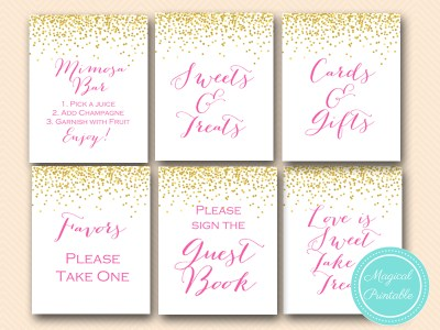 sn33 bs63 hot pink bridal shower baby shower wedding signages