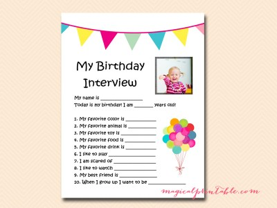 Birthday Interview Printable, Birthday Keepsake, Birthday memories, Memory Keeper, Kid's Birthday Party Game, Birthday Activity PT03