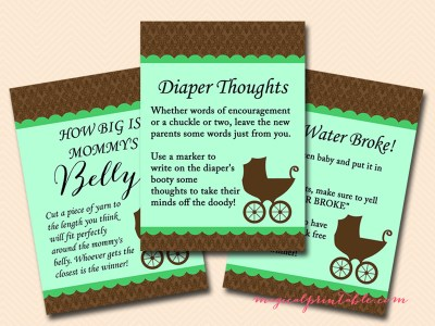 Gender Neutral Green Baby Carriage Baby Shower Games tlc82