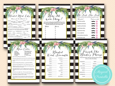 Luau Bridal Shower Game, Hawaiian, Spring, Wedding Shower bs170