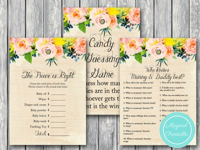 burlap rustic floral baby shower games pack tlc150 game printable