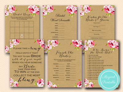 floral burlap rustic and romantic bridal shower games pack bs14