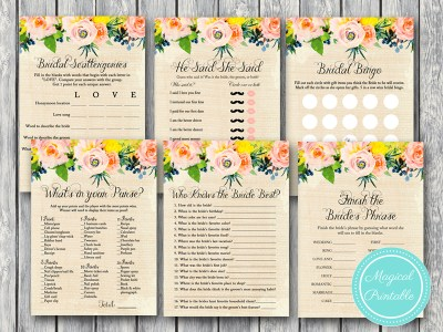 floral rustic burlap bridal shower games bs183