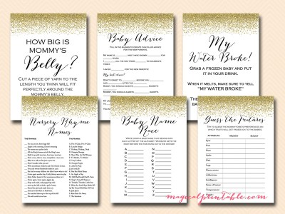 gold glitter baby shower game pack, printable baby shower games, instant download, tlc87, gold confetti baby shower games