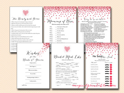 love is in the air bridal shower games, love hearts bridal shower game pack, bs139