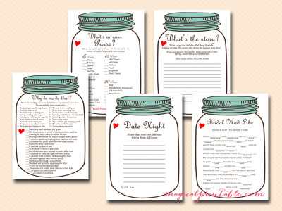 mason jars bridal shower games, rustic bridal shower game package, instant download, bs94, teal lid