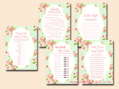 mint shabby chic bridal shower game package, instant download, floral mint bridal shower, wedding shower game package, hens party game package bs77