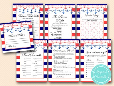 navy and coral nautical bridal shower games pack bs180 beach theme printable