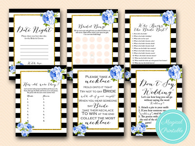 navy blue floral bridal shower black stripes printable games download bs162