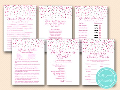 pink and silver bridal shower games package printable bs179 confetti