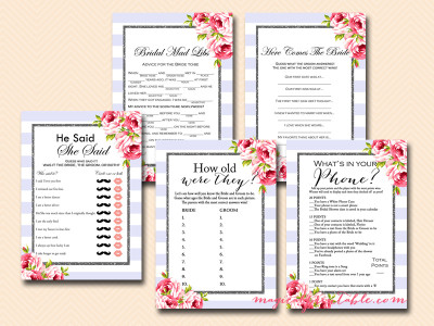 purple, lavender bridal shower game package, floral, chic, purple stripes, modern design, floral bridal shower games, bs92, lilac