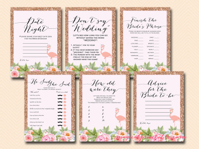 rose gold flamingo bridal shower game pack, bs130