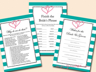 teal bridal shower game pack, instant download, bs106, interlocking hearts, couple hearts.