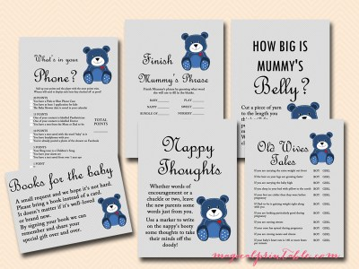 teddy bear baby shower printable game set tlc33