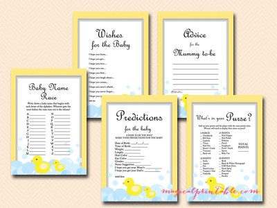 yellow rubber duck baby shower game pach, gender neutral, gender reveal tlc35