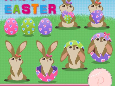Rabbit Clipart, Easter Clipart, Girl Clipart brown bunnies