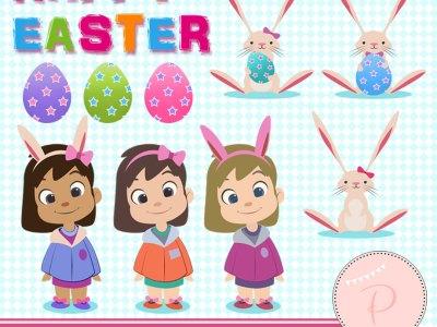 Rabbit Clipart, Easter Clipart, Girl Clipart easter pack