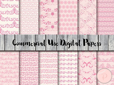 dp76 pink floral shabby chic digital paper