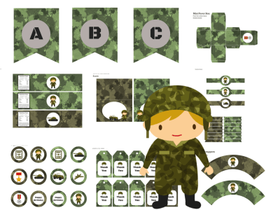 Camo Army Military Party Pack