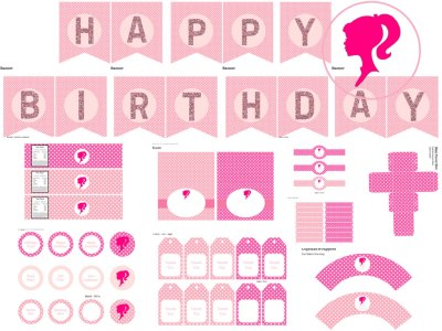 barbie birthday printable, barbie doll