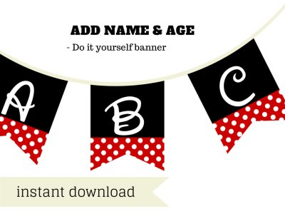 minnie mouse banner feat. disney font