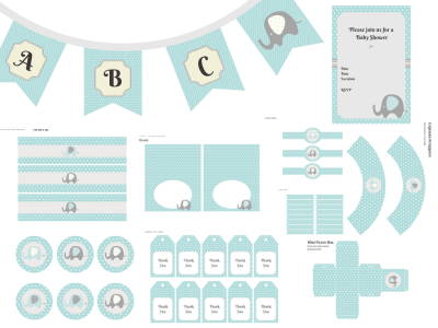 Elephant Baby Shower, Elephant Baby Shower Invitation, Elephant Birthday, Elephant Party Package, Elephant Banner, Elephant theme