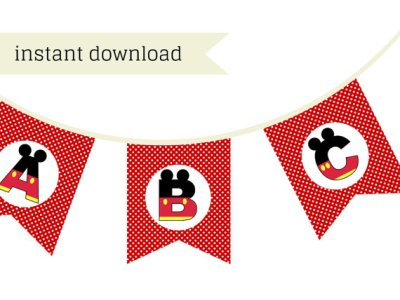 red mickey mouse party banner