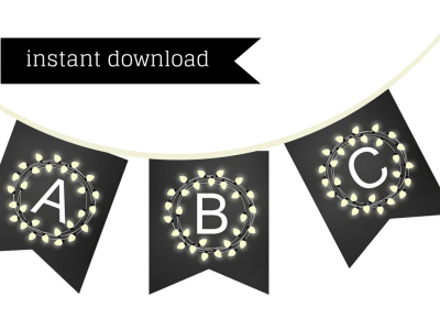 chalkboard bridal shower banner, bunting, Printable, chalkboard baby shower banner, chalkboard banner, Birthday banner, wreath flower banner