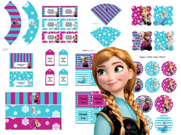 Disney's FROZEN Birthday party Printable package! Instant Download. Disney Frozen Party, Disney Princess, Frozen Banner, Elsa Party