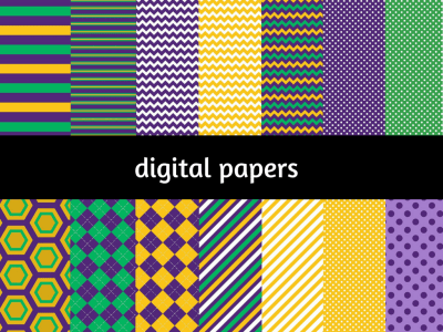 Mardi Digital Paper, Digital Background, Mardi Gras Digital Paper, Green purple orange digital papers, Scrapbook, Festive digital papers