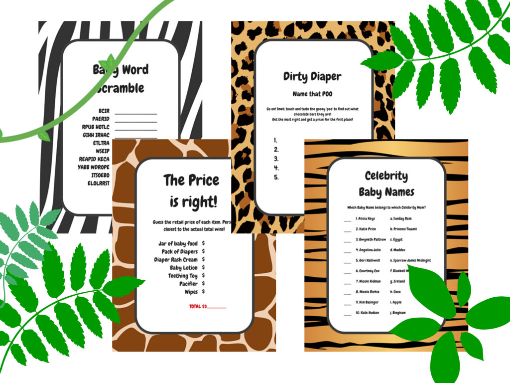 Jungle Animals Baby Shower Game